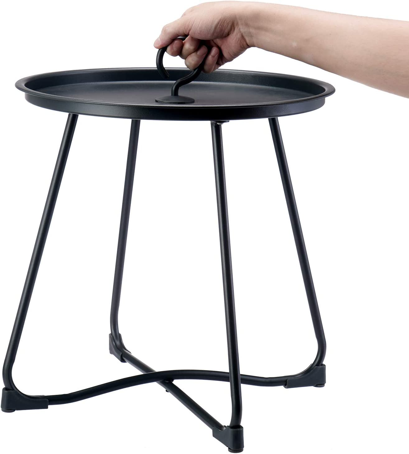 Maxking Outdoor Side Table Lightweight Round Outdoor End Table Weather Resistant Outdoor Coffee Table Perfect for Garden,Yard,BBQ,Camping -Black: Kitchen & Dining