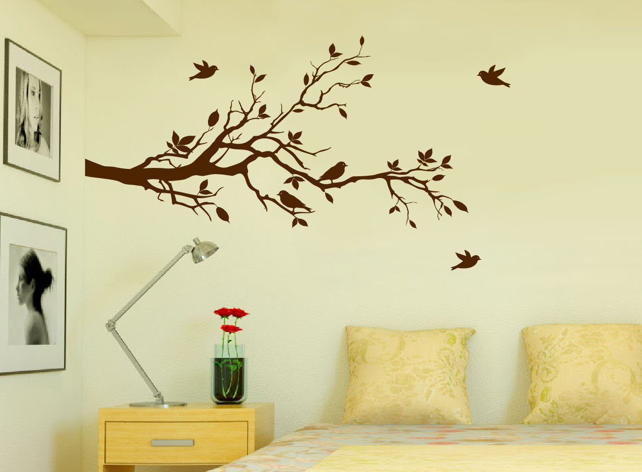 Amazon.com: Tree Branches Wall Decal Love Birds Vinyl Sticker ...