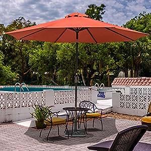 Sundale Outdoor 10 Ft Sunbrella Canopy Patio Market Umbrella Garden Aluminum Umbrella with Crank and Auto Tilt, Red