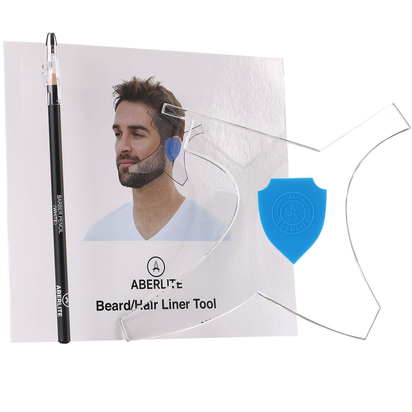 Aberlite Beard Shaper Kit w/Barber Pencil - Premium Shaping Tool (Blue)- 100% Clear   Many Styles   Long Edges   The Ultimate Beard/Hair Lineup Tool (US Patent) - Beard Stencil Guide Template Outliner