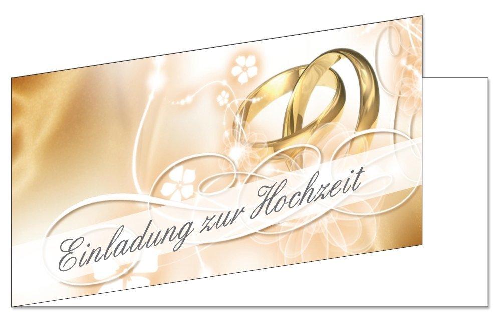 50 Stück Einladungskarten Zur Hochzeit (EKT 102) Format DIN Lang Einladungen  Ringe Trauung Feier: Amazon.de: Bürobedarf U0026 Schreibwaren