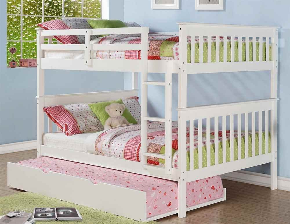 Donco Kids Full Mission Bunkbed with Roll Out Twin Trundle, White