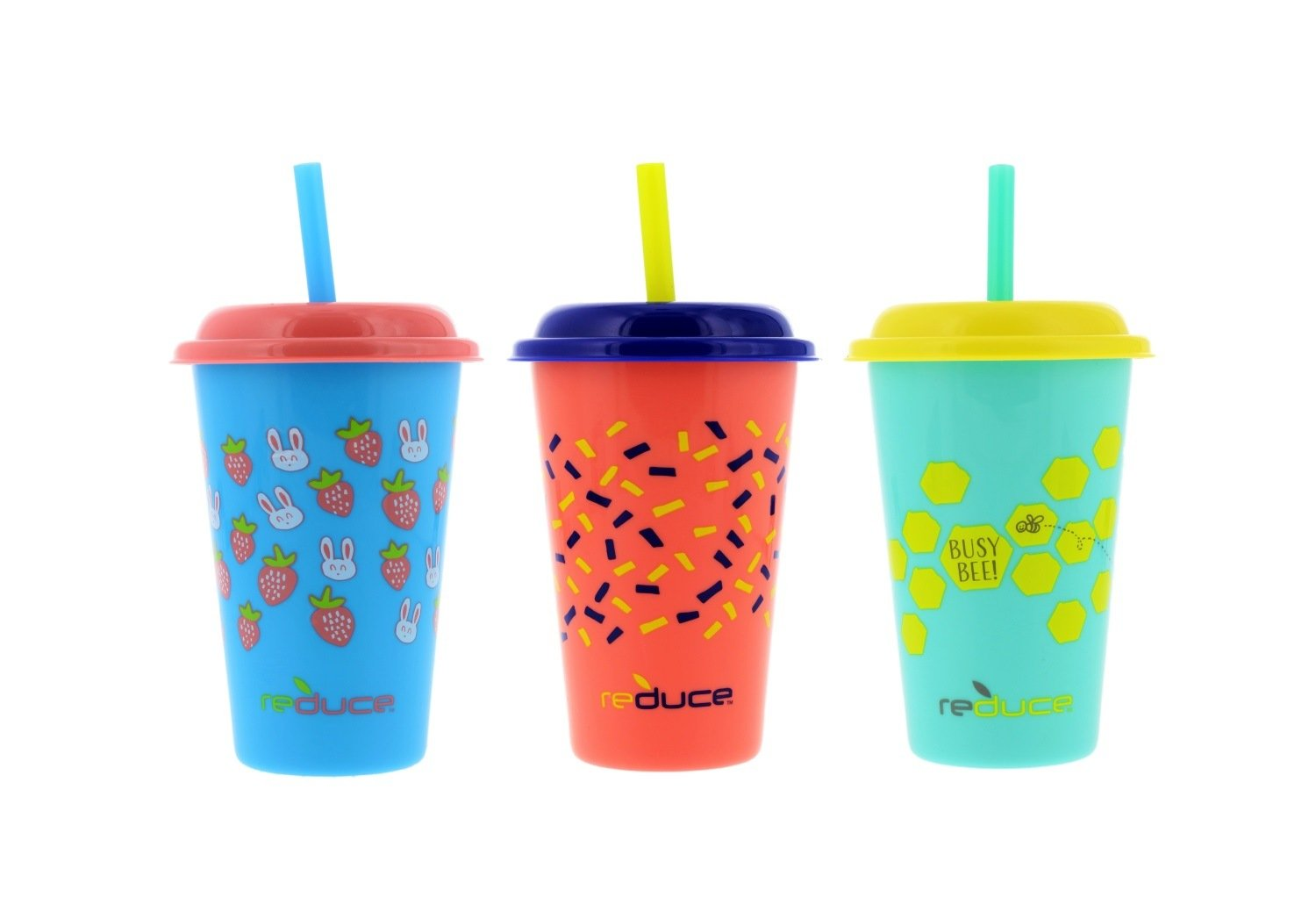 Reduce GoGo's 12oz Straw Cups for Kids, 3 Pack Cutiepie - Kids Cups with Lids and Straws are the Perfect Toddler Tumbler for Home and Travel - BPA Free, Dishwasher Safe, 3 Fun Designs, Fits Cupholders