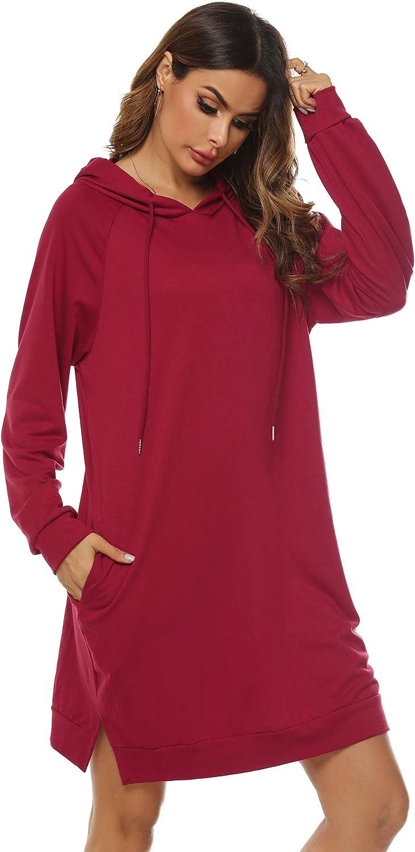 Sykooria Sudadera Larga con Capucha para Mujer Jersey Deportiva de Algodón con Bolsillos Suéter de Casual de Otoño Invierno de Color Sólido Vestido