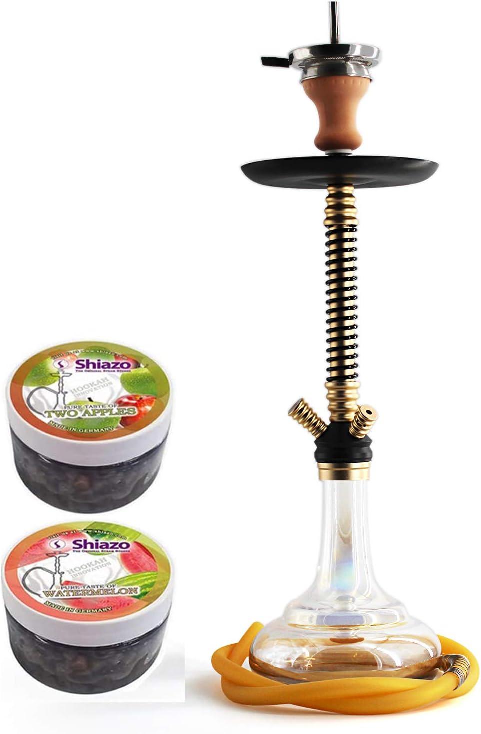 Kertou Shisha Hookah Cachimba Narguile Aluminio agua tubo vidrio fumar 66 cm con 2x100gr piedras, pinzas para carbón (dorado)