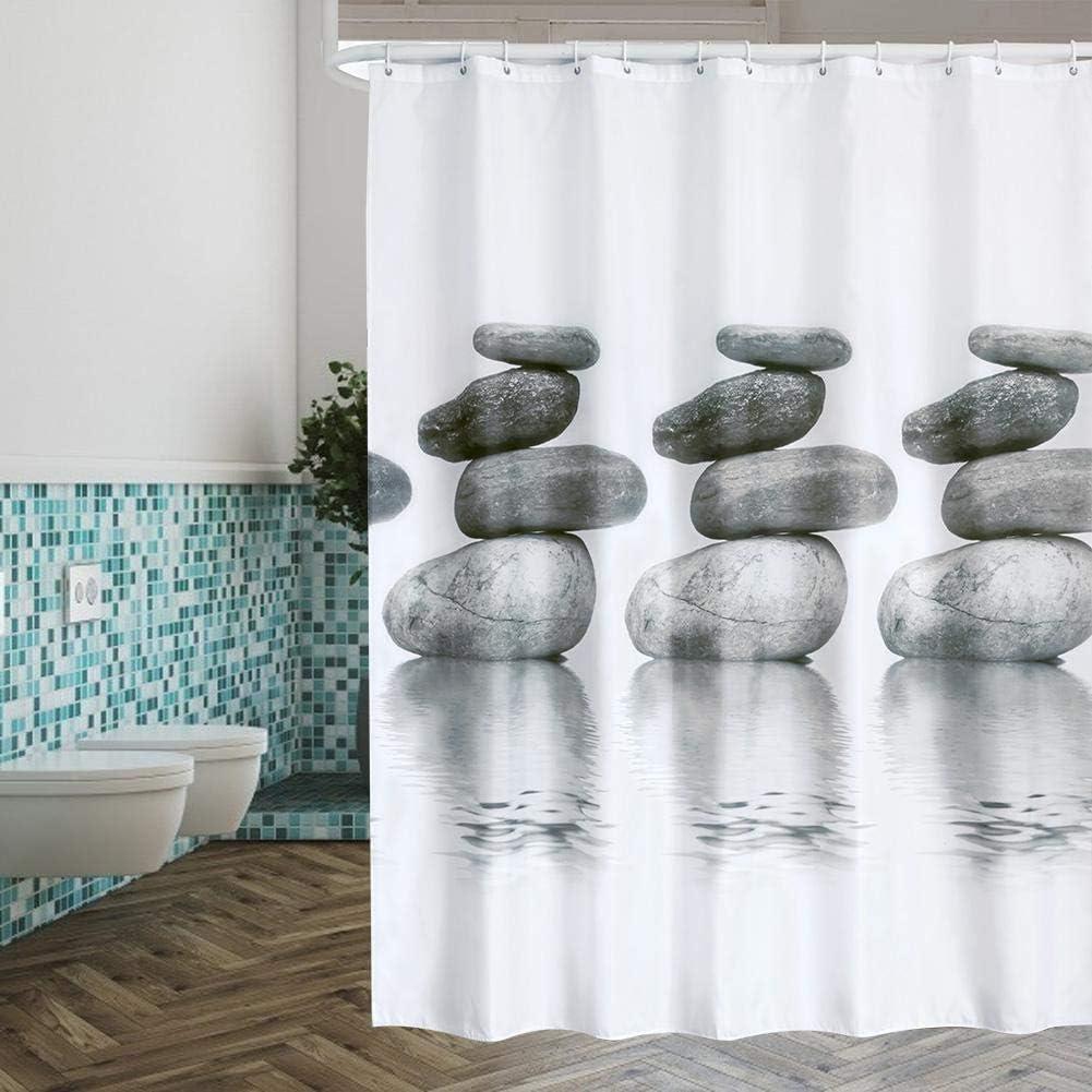 TOPINCN Rideau de douche imperm/éable et r/ésistant /à la moisissure Motif pierres grises avec crochets de suspension Polyester Tissu 240*200CM