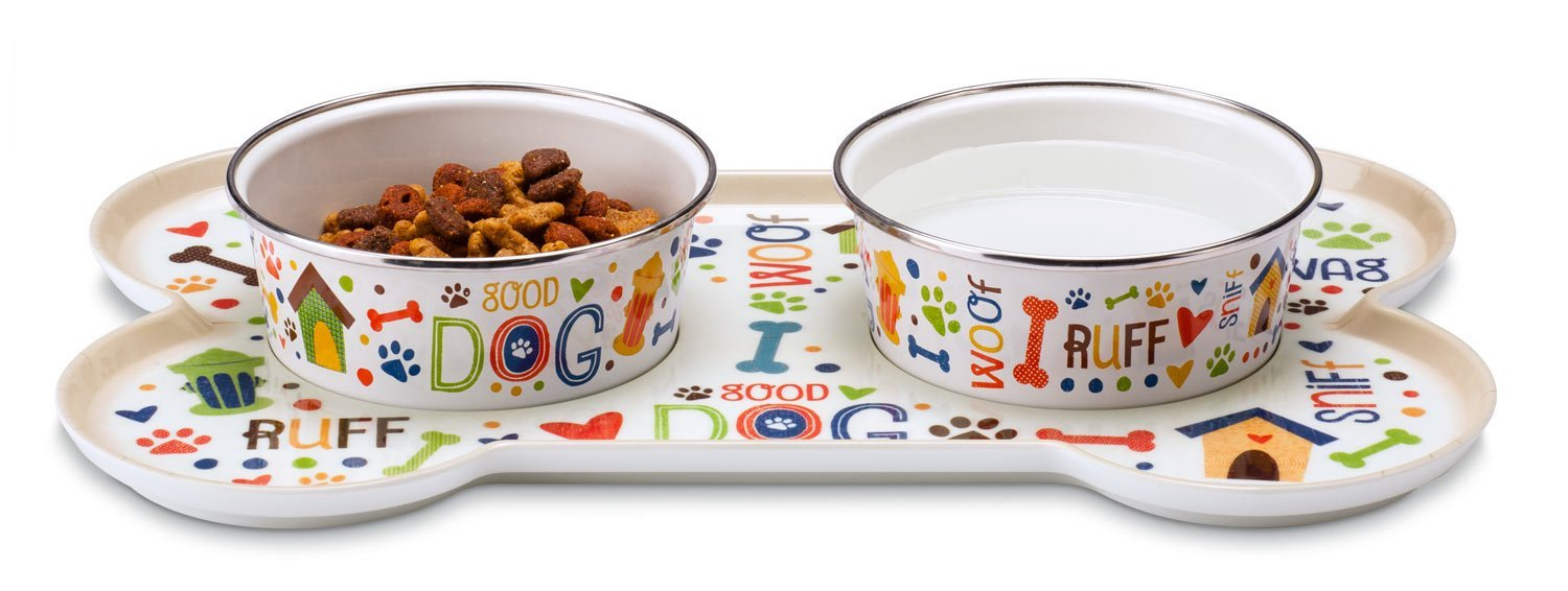 Sit-n-Stay Small Magnetic Non-Slip Pet Tray & Food Bowl Set (Good Dog)