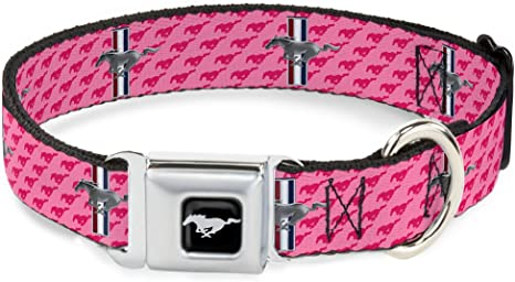 Ford Logo with Repeat Text Pink Seatbelt Style Belt Buckle