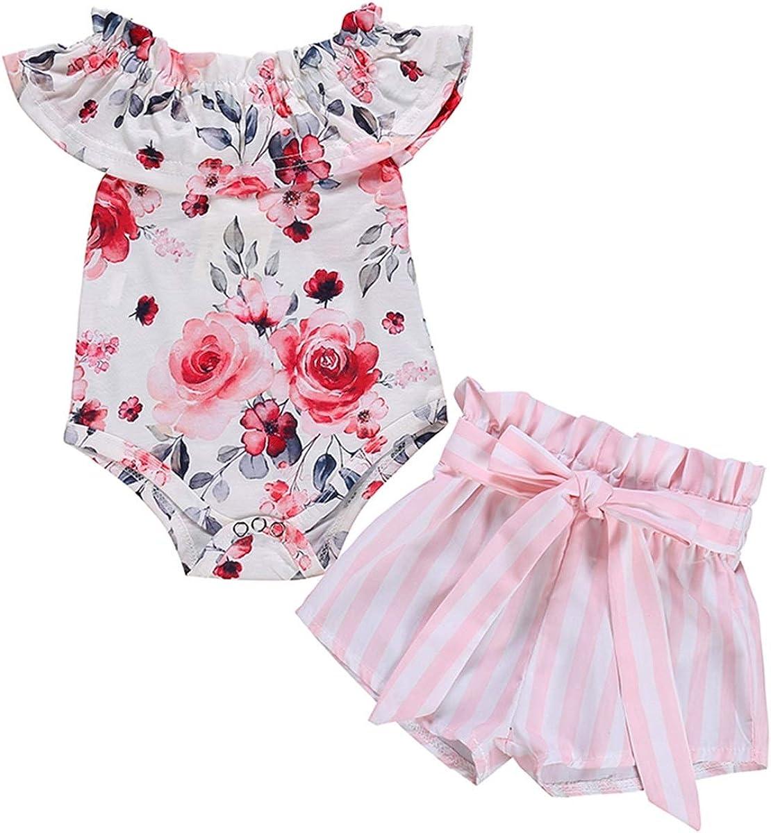 Puseky 2 Pezzi//Set Neonato Bambina arruffata Rosa Pagliaccetto Stampato Pantaloncini a Righe Pantaloni Abiti Set