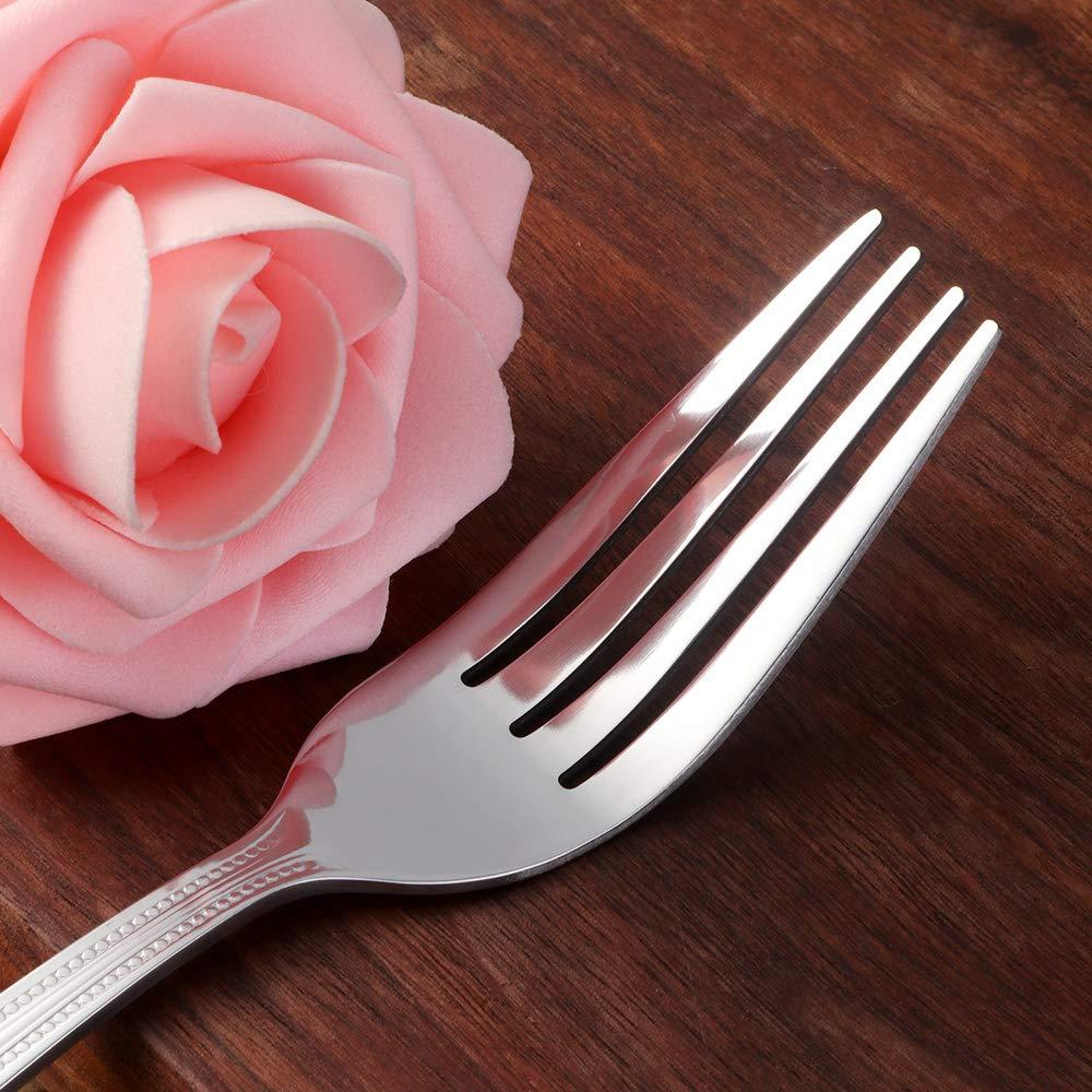Bisda Acier Inoxydable Couverts Cuill/ère /à Dessert Set 180mm Id/éal pour Usage Quotidien 12 Pi/èces Bead Cuill/ère /à Dessert