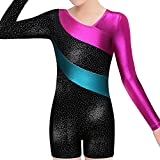 BAOHULU Toddlers Girls Gymnastics Dance Leotards-One-piece Sparkle Stripes & Stiching Athletic Clothes Black 130(6-7Y)