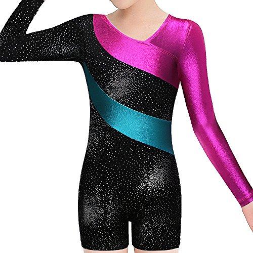 BAOHULU Toddlers Girls Gymnastics Dance Leotards-One-piece Sparkle Stripes & Stiching Athletic Clothes Black 130(6-7Y)
