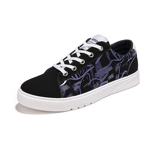 Otoño/Verano 2018 Zapatos Planos de los Hombres de Charol Abstracto Pintura Superior con Cordones Low Top Sneaker: Amazon.es: Zapatos y complementos