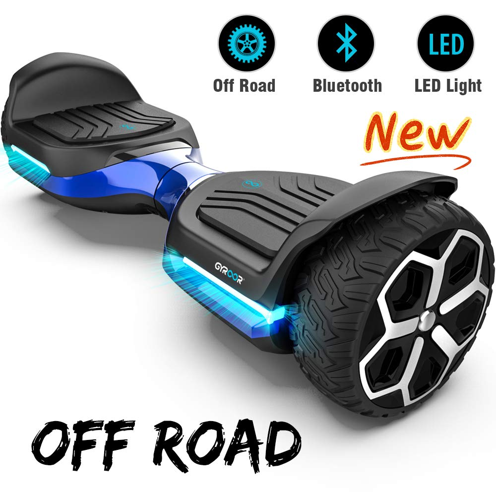 Gyroor T581 Hoverboard 6.5'' Off Road All Terrain Hoverboard with Bluetooth Speaker and LED Lights Two-Wheel Self Balancing Hoverboard for Adult Kids Gift UL2272 Certified (Blue)