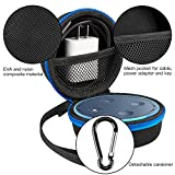 Echo Dot Case, Travel Portable Carrying Protective Case With Screw-Lock Carabiner-Nylon/PU, Fits Phone Headset, Charger and USB Cable (BLACK)
