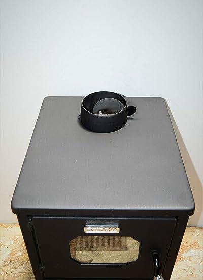 Estufa de leña de combustible sólido quemador de troncos tapa de acero y solapa 8,4 kw