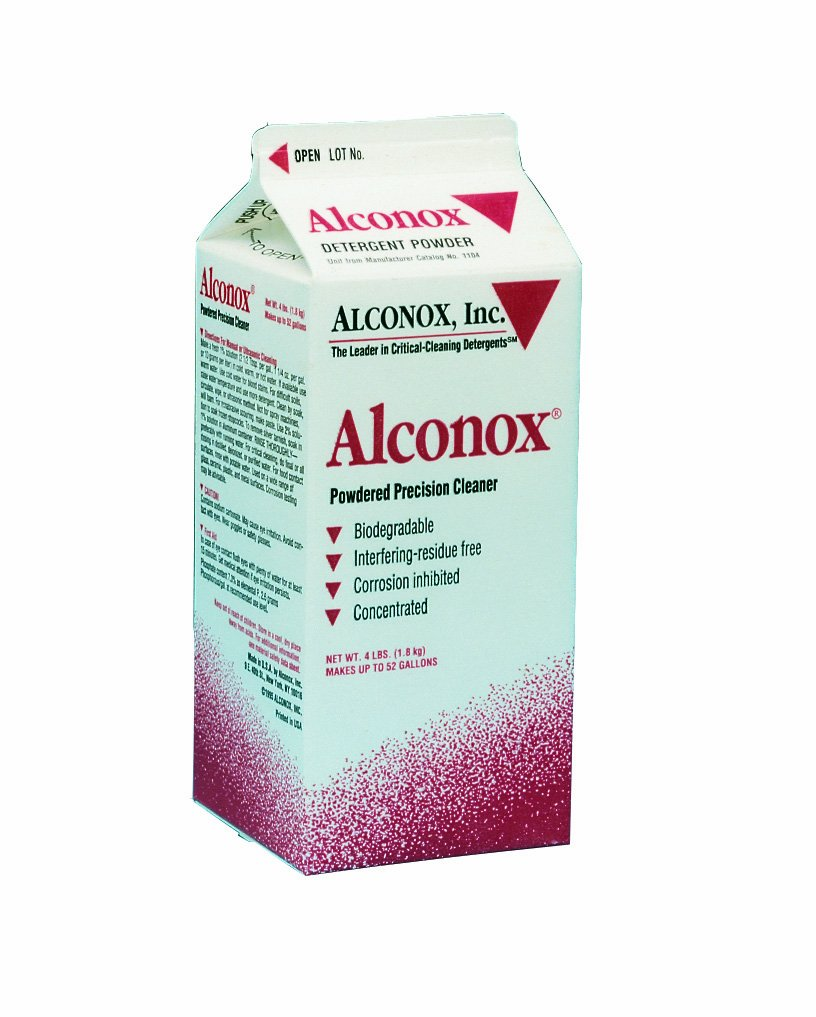 Alconox 1104 Powdered Precision Cleaner, 9.5pH, 1:100 Dilution Ratio, 4lbs Box