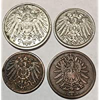 1 Kaiser Era German 4 Coin Set, Real Prussian Collectables Empire That Started World War 1 WW1. Pre Nazi, Comes With Certificate Of Authenticity. Circulated Graded by Seller