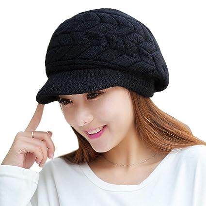 SUKEQ Stylish Women Stretchy Knitted Rabbit Fur Hat Snow Ski Beanie Caps  With Visor (Black 66793b17053d