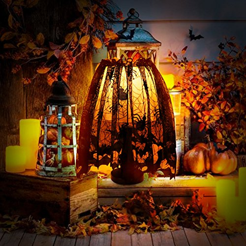AerWo Black Spider Halloween Lace Lamp Shade Cover for Halloween Lamp Decorations, 18 X 60 inch