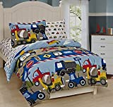 Mk Collection 7Pc Full Size Comforter and Sheet Set Trucks Tractors Cars Police Cars Construction airplane Kids/boys / Teens New# Trucks