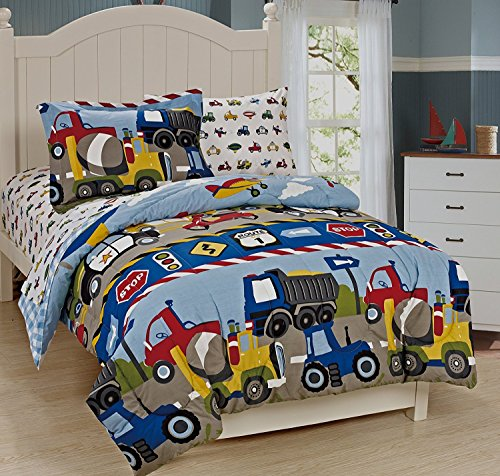Mk Collection 7Pc Full Size Comforter and Sheet Set Trucks Tractors Cars Police Cars Construction airplane Kids/boys / Teens New# Trucks (Comforter Sets Kids)