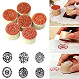 Estone® 6pcs Restoring Ancient Round Wooden Pattern Rubber Stamp Seal New