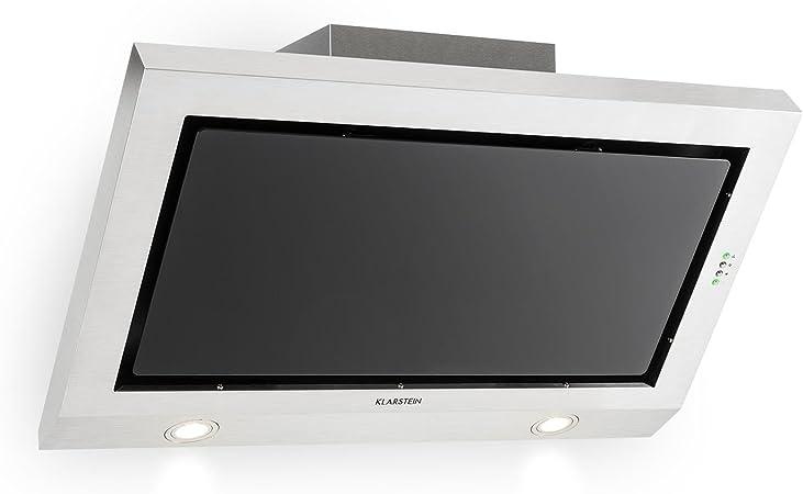 KLARSTEIN Garcon Campana extractora (590m³/h de Potencia máxima, 90 cm, terminación en Chimenea, iluminación LED, Panel de Cristal Negro, fácil Limpieza, Acero Inoxidable): Amazon.es: Electrónica