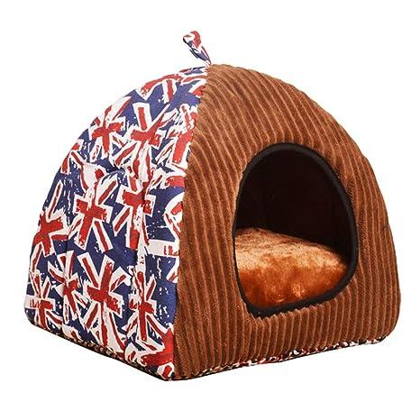 JEELINBORE Estampado Casa para Mascota Plegable Suave Cama para Perro o Gato (S: 35