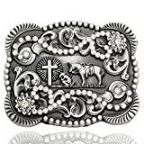 Men Vintage Silver Native 3D Cowboy Church Prayer Cross Horse Crystal Belt Buckle