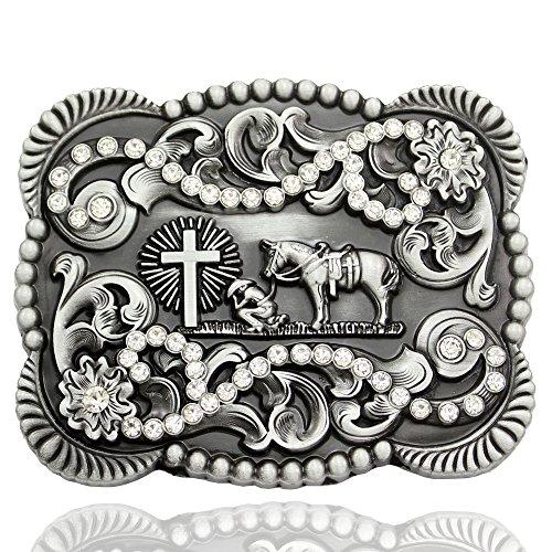 Crystal Cross Buckle Belt - Men Vintage Silver Native 3D Cowboy Church Prayer Cross Horse Crystal Belt Buckle