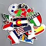 Gadgets WRAP 27Pcs National Flags & Map Airline Logo Travel Luggage Stickers for Car Bike Skateboard Laptop Ative Sticker