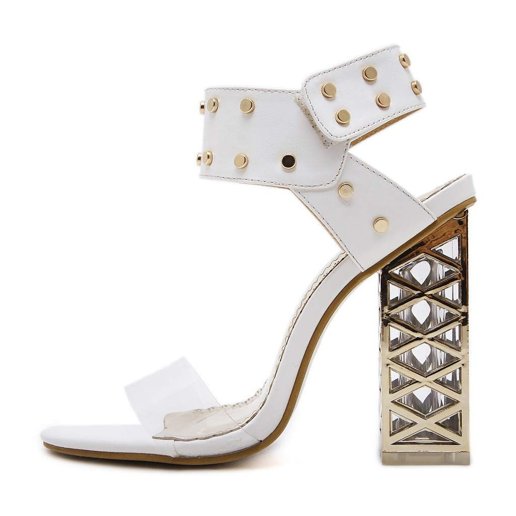 Women's Chunky Heel Sandals,Ladies Summer Ankle Straps Transparent High-Heels Open Toe Sandal