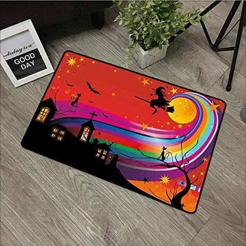 LOVEEO Funny Doormat,Halloween Witch Woman on Broomstick Bats Cat Stars Rainbow Moon Castle Abstract Colorful,Rustic Home Decor,35
