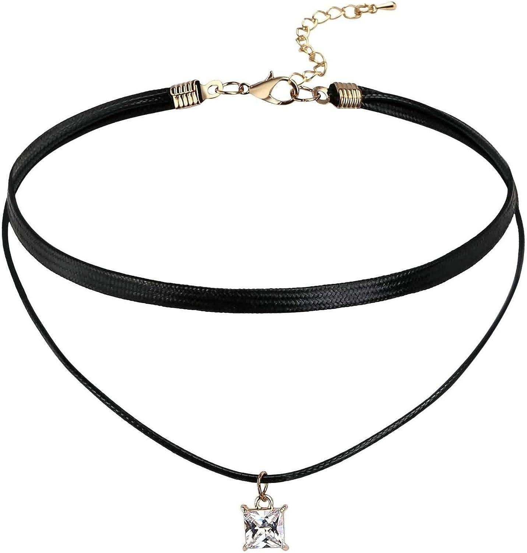 AueDsa Collar Negro Colgantes Acero Inoxidable Mujer Encaje con Cuadrado Circonita Blanca Choker
