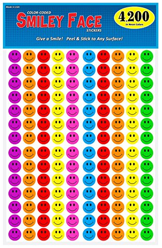 Pack of 4200, Happy Face Smiley Stickers, 3/4 inch Round Circles, 7 Bright Neon Colors, Great for - Faces Neon Happy