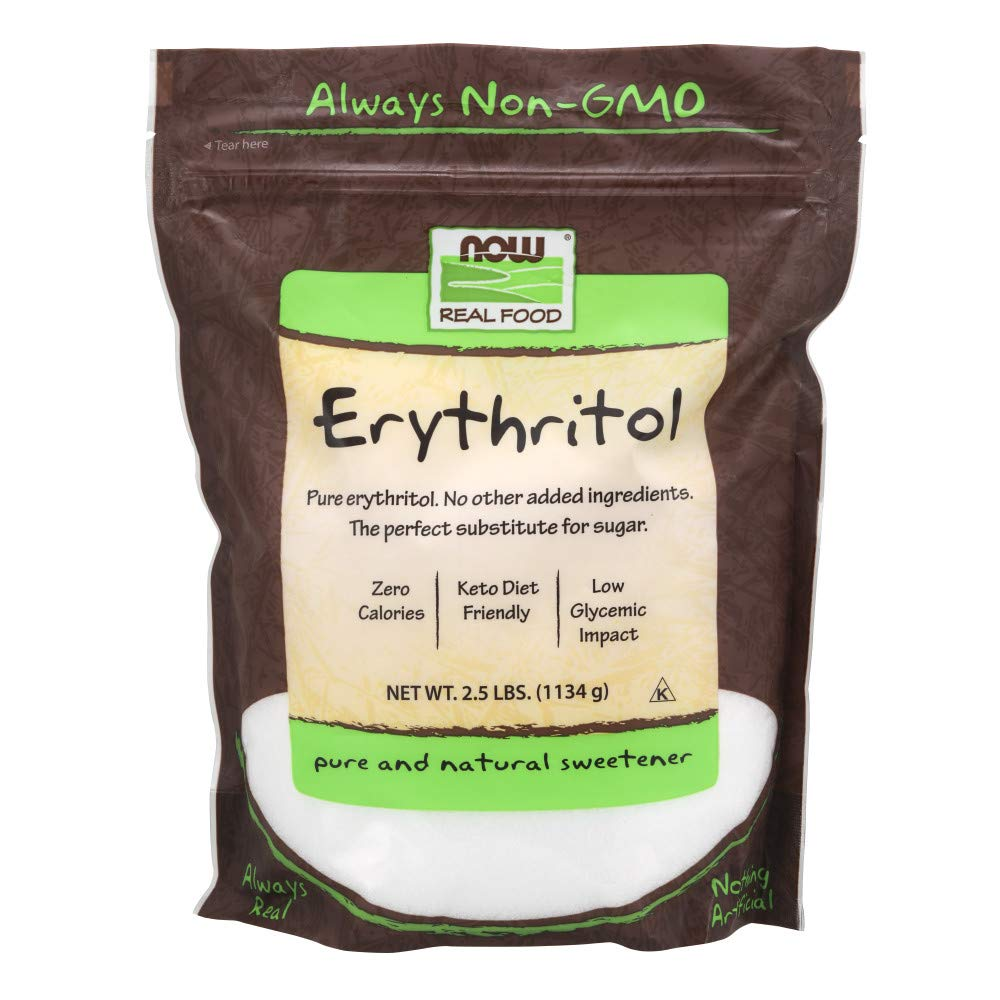 NOW Foods, Erythritol, Great-Tasting Substitute for Sugar, Zero Calories, Low Glycemic Impact, 2.5-Pound by NOW Foods