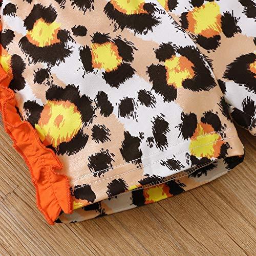 Toddler Baby Girl Short Sleeve Ruffle Sweatshirt+Leopard Shorts Pant Outfit (Orange, 12-18 Months)