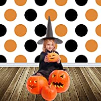 Allenjoy 5x7ft photography backdrop background Halloween Orange and black dots fall autumn newborn baby shower props photo studio booth