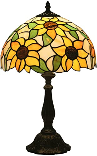 Baroque Tiffany Style Table Lamps Sunflower Lighting Stained Glass Lampshade Antique Base