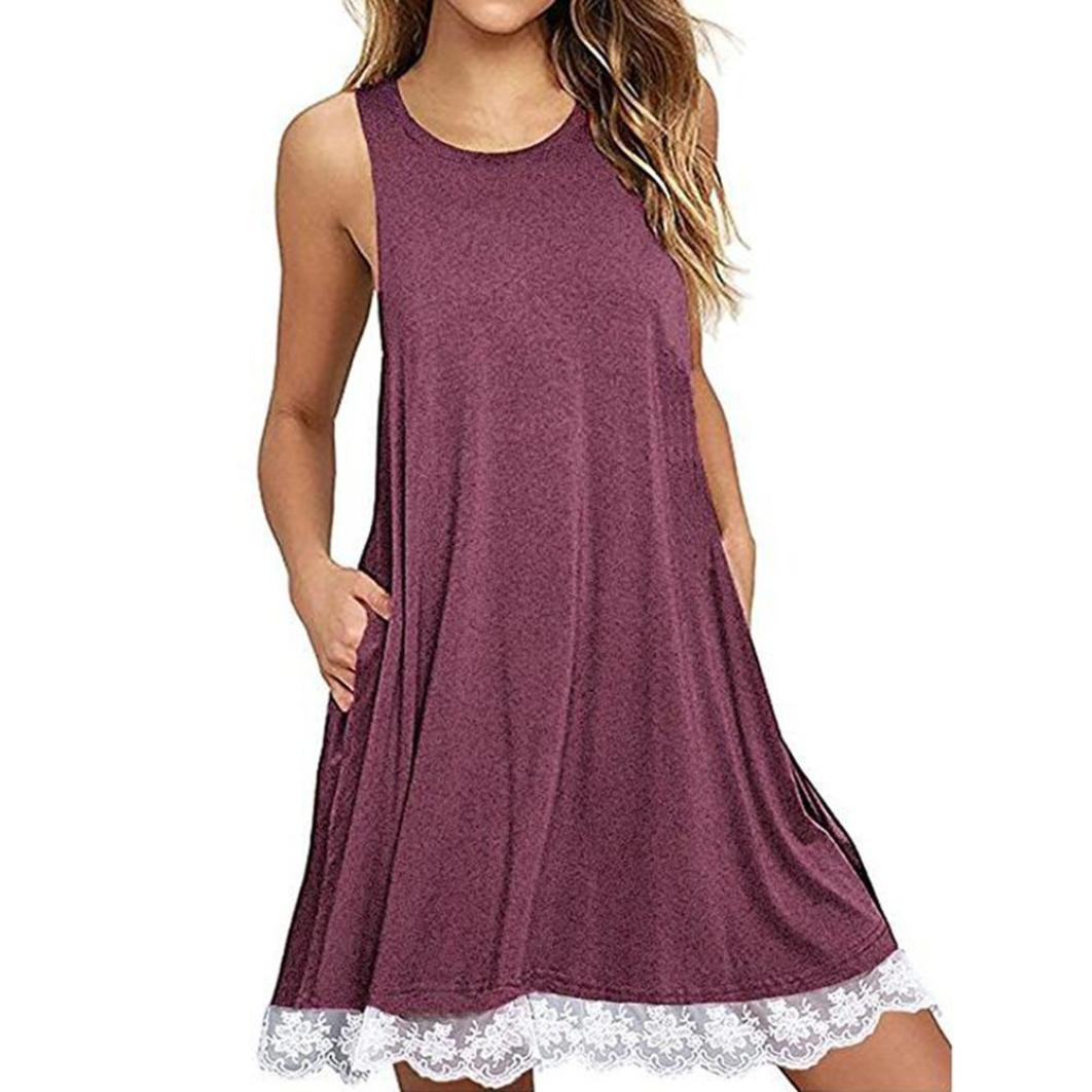 Mini Dress,Kstare Summer Women O Neck Casual Lace Sleeveless Above Knee Dresses Loose Party Ladies Short Beach Dress (XL, Red)