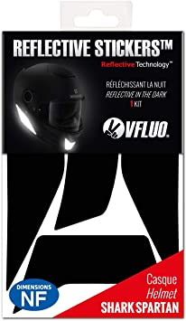 Black VFLUO SPARTAN retro reflective 4 stickers kit made for SHARK SPARTAN and adaptable to all helmets 3M Technology