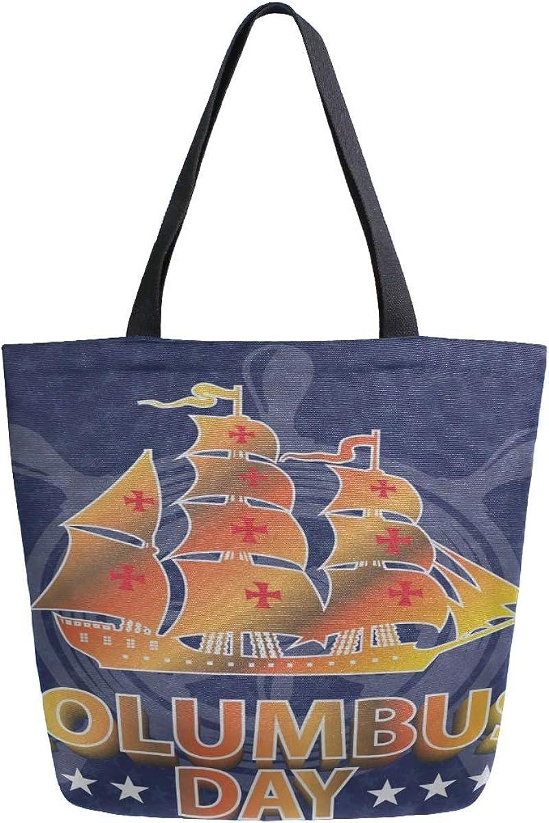 Happy Columbus Day Sailing Sea Ship flotante portátil grande de doble cara Bolsas de lona ocasionales Bolso Hombro Bolsas de compras reutilizables Duffel Purse Para Mujeres Hombres Comestibles Viajes