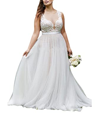 Fishlove Plus Size Country Vestidos De Novia Illusion Sheer Lace Wedding Dresses For Women W19