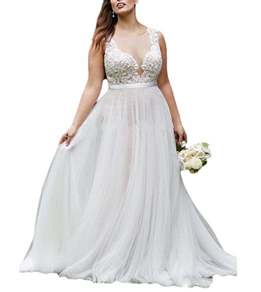 Fishlove Plus Size Country Vestidos De Novia Illusion Sheer ...