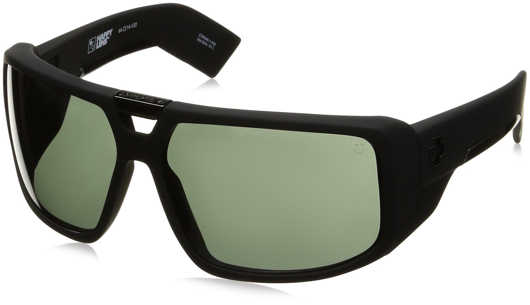 Spy Optic Touring Wrap Sunglasses, Soft Matte Black/Happy Gray/Green, 64 mm