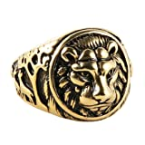 HZMAN Men's Vintage Stainless Steel Ring Lion