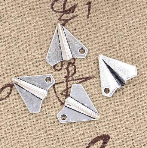 (10 Paper Airplane Charms Antique Silver Tone 3D 18x17mm (NS832))