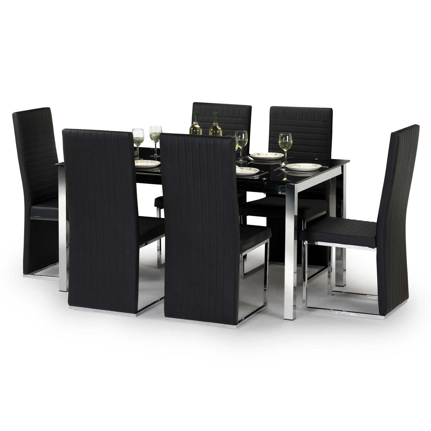 Marvelous Tempo Dining Table Set   W150cm   Black Glass U0026 Chrome   6 Faux Leather  Chairs: Amazon.co.uk: Kitchen U0026 Home