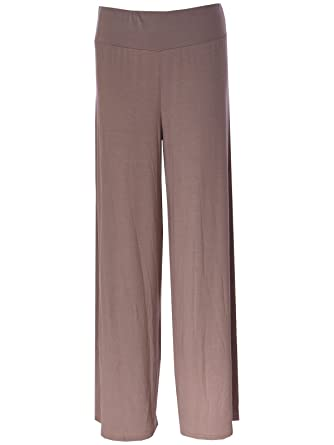 e2720dc08af RIDDLED WITH STYLE Plus Size Womens Plain Palazzo Wide Leg Flared Ladies  Printed Trousers Pants 8-26  Amazon.co.uk  Clothing